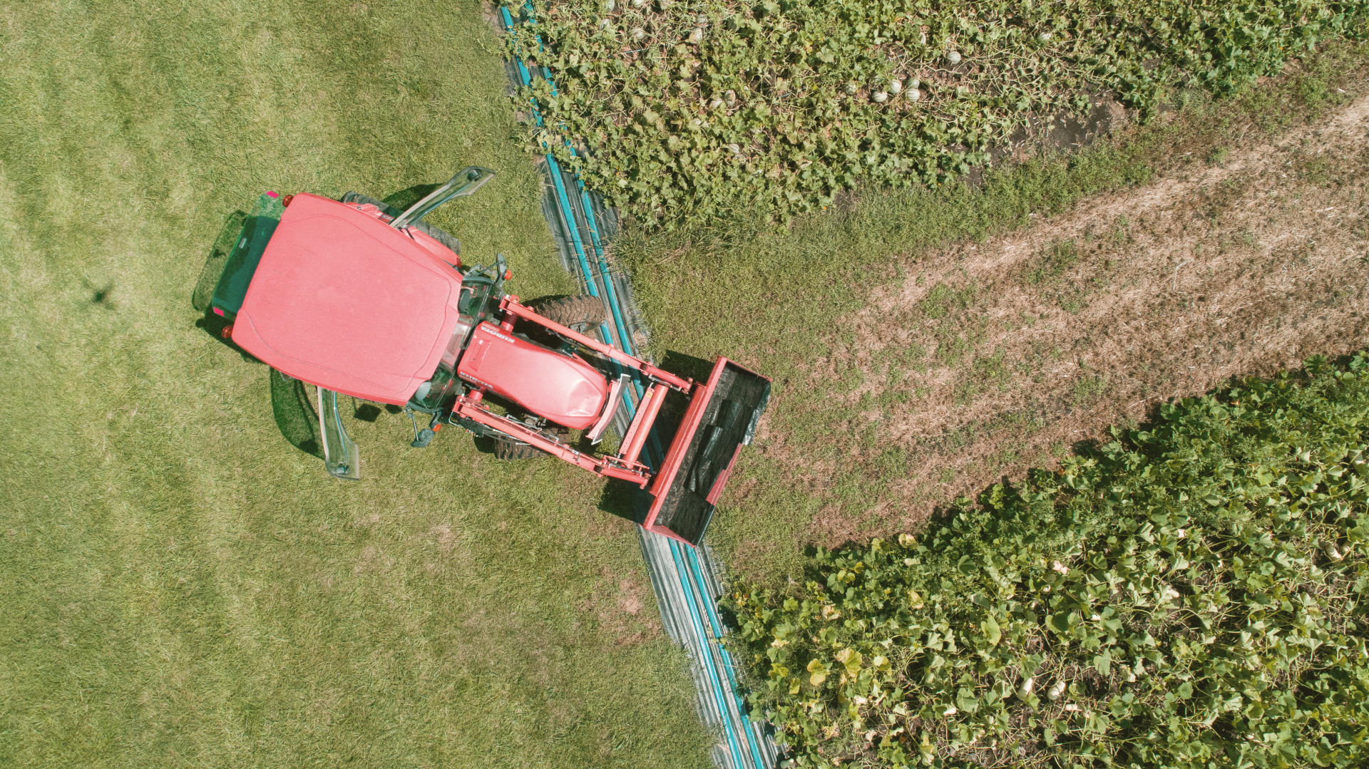 aerial picture of a tractor in the field